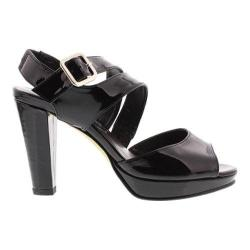 Women's Rose Petals by Walking Cradles Presley Ankle Strap Sandal Black Patent