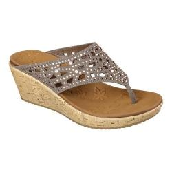 Women's Skechers Beverlee Dazzled Wedge Sandal Taupe