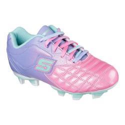 Girls' Skechers Teamsterz Tricky Kicks Soccer Cleat Periwinkle/Pink/Aqua