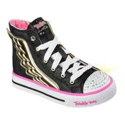 Girls' Skechers Twinkle Toes Shuffles Flutter Up High Top Black/Gold