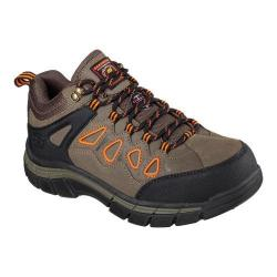 Men's Skechers Work Relaxed Fit Dunmor Comp Toe Lace Up Brown/Orange
