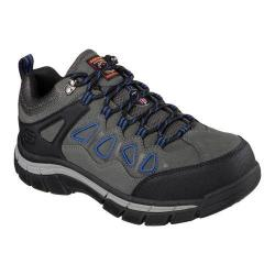 Men's Skechers Work Relaxed Fit Dunmor Comp Toe Lace Up Gray/Blue
