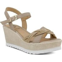 Women's Spring Step Uribia Wedge Sandal Taupe Leather