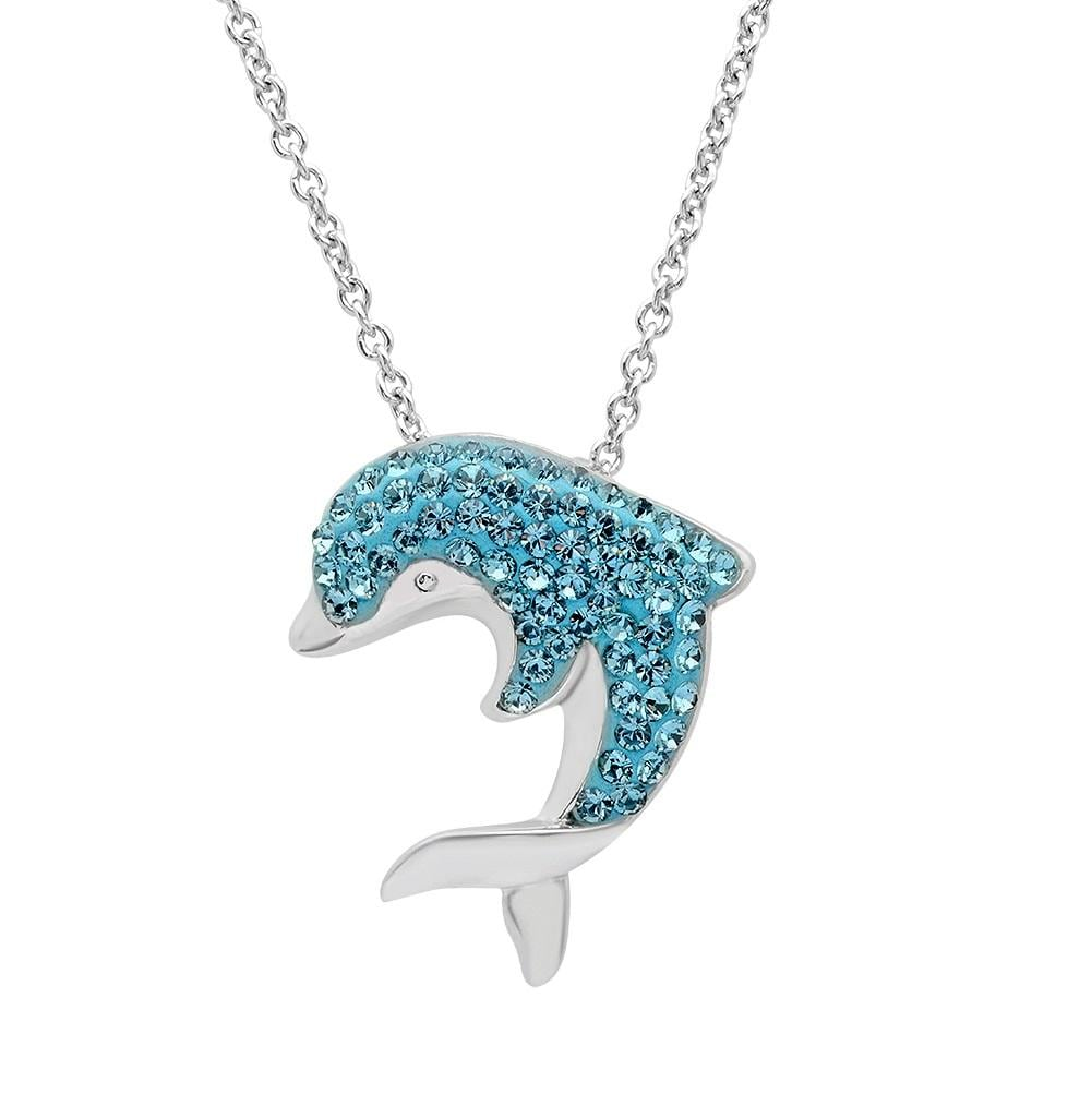 Amanda Rose Sterling Silver Dolphin Pendant made with Swarovski Crystals