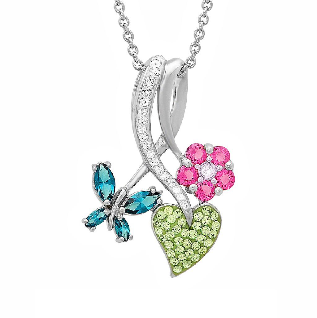 Amanda Rose Sterling Silver Butterfly Heart and Flower Pendant made with Swarovski Crystals