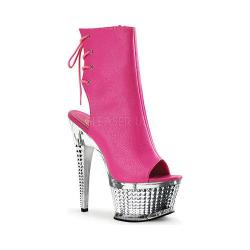 Women's Pleaser Illusion 1018CH Neon Hot Pink Polyurethane/Silver Chrome