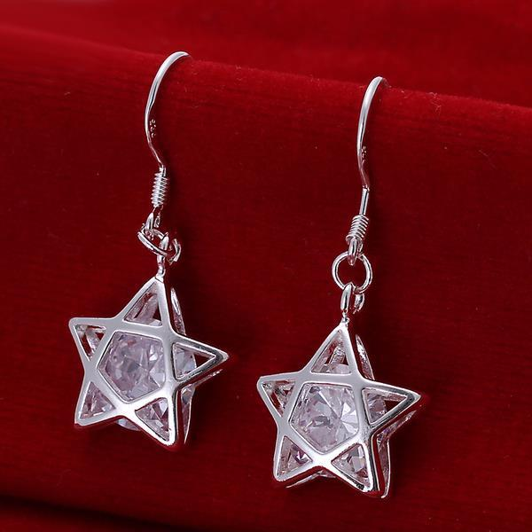Vienna Jewelry Sterling Silver Filled In Stars Shaped Earring