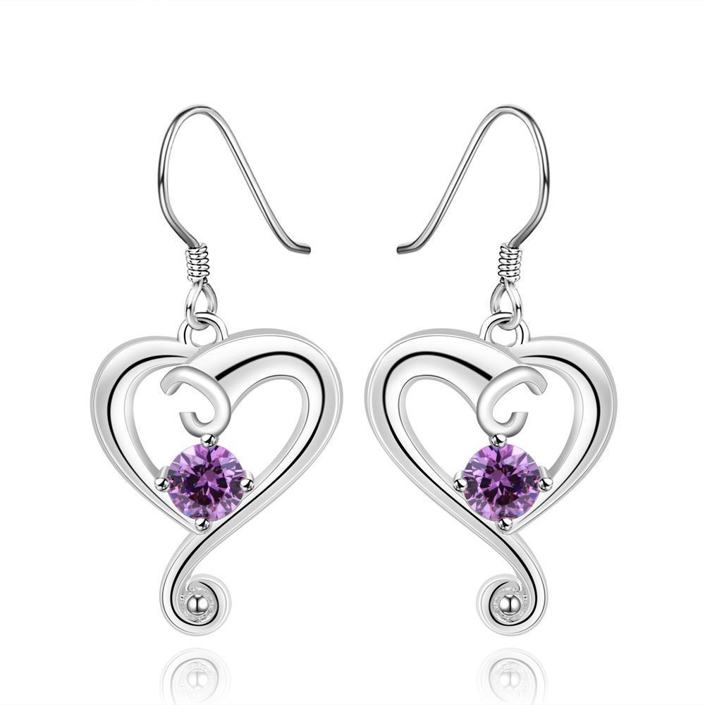 Vienna Jewelry Sterling Silver Purple Citrine Curved Heart Drop Earring