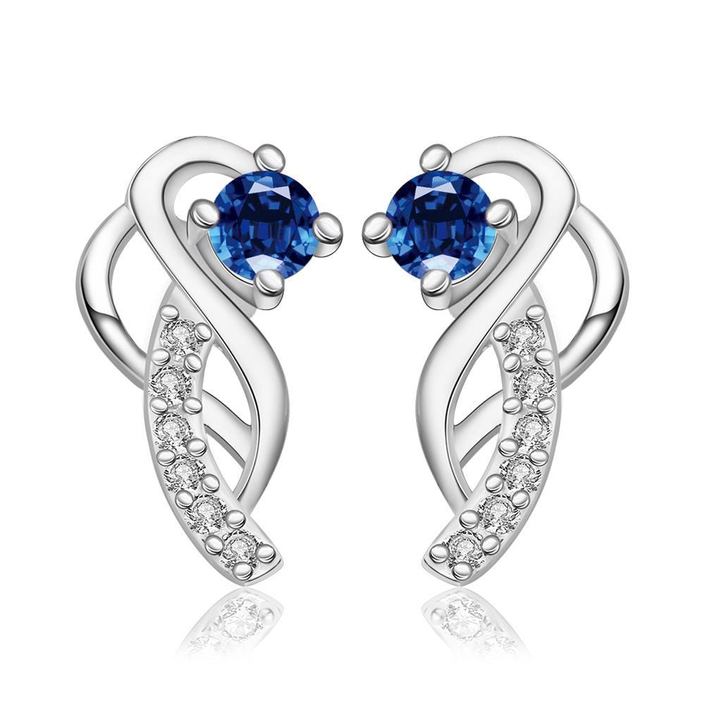 Vienna Jewelry Sterling Silver Abstract Curved Pendant with Sapphire Covering Earring