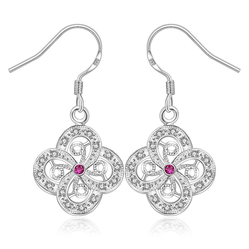Vienna Jewelry Sterling Silver Laser Cut Clover Drop Earring