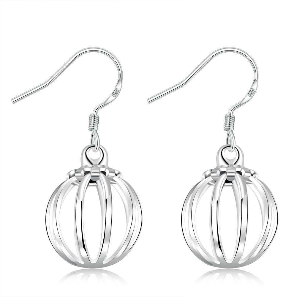 Vienna Jewelry Sterling Silver Vertical Lined Ball Drop Earring