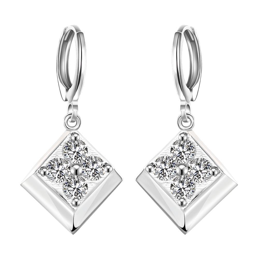 Vienna Jewelry Sterling Silver Onyx Square with Stones Drop Earring