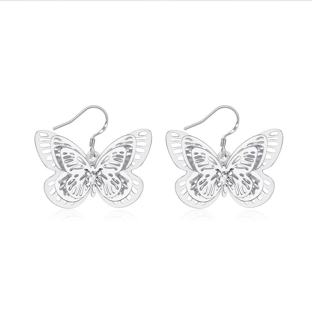 Vienna Jewelry Sterling Silver Petite Flying Butterfly Drop Earring