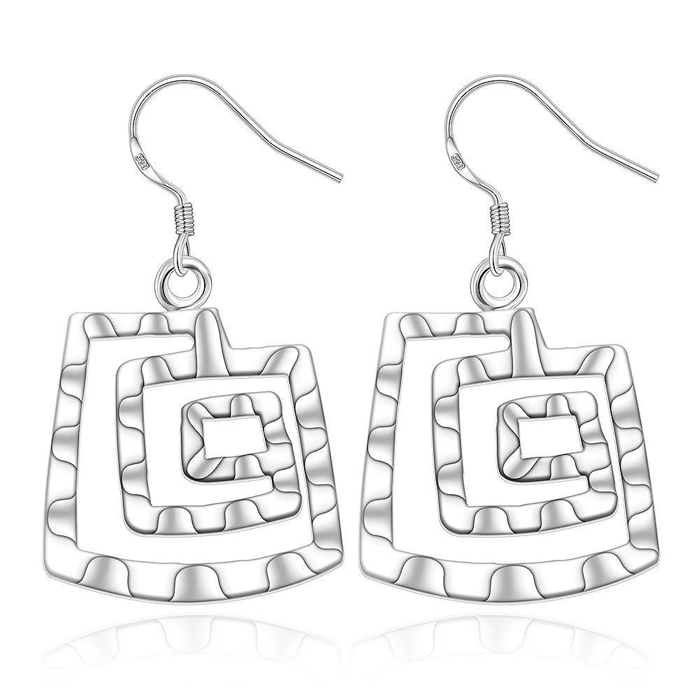 Vienna Jewelry Sterling Silver Geometric Pattern Earring