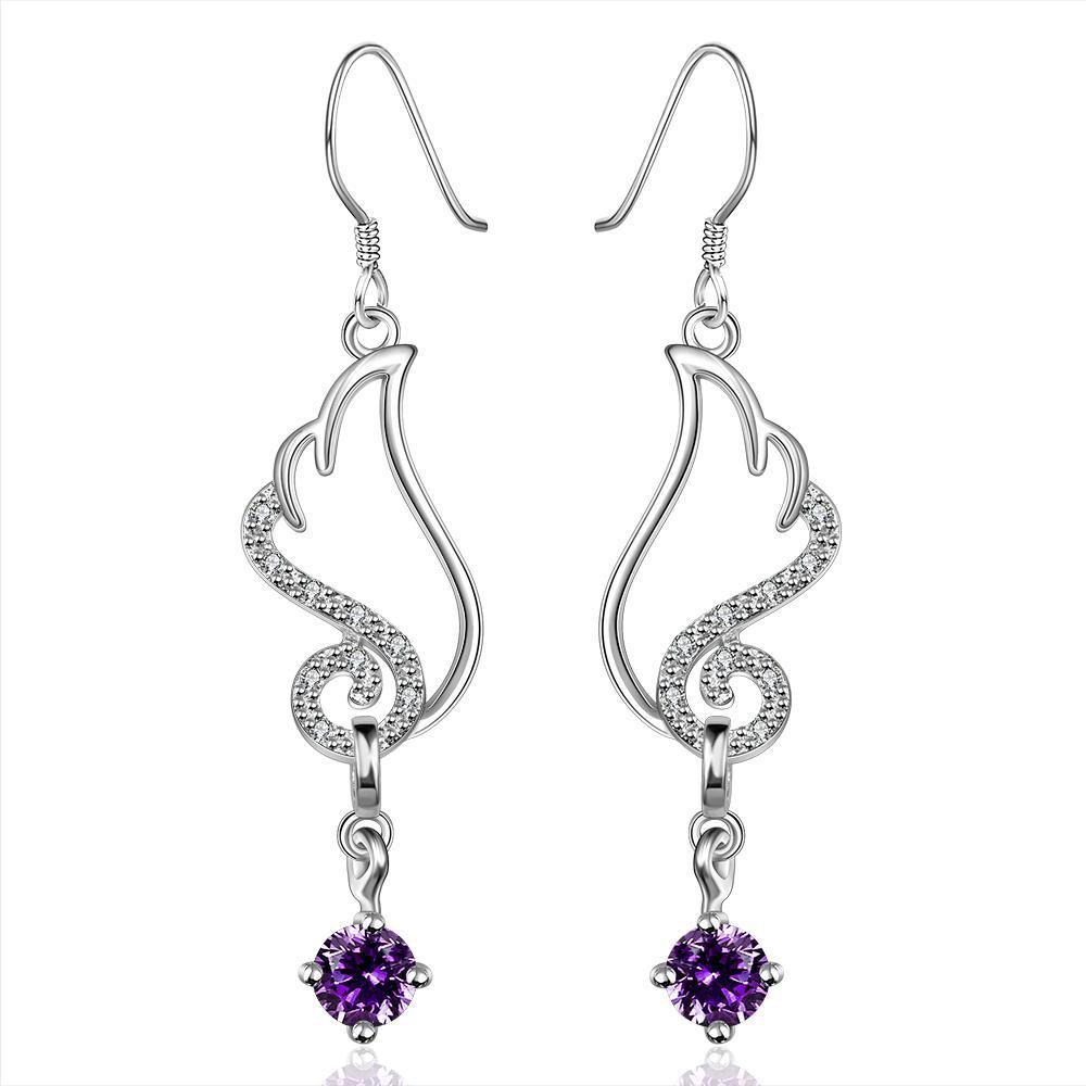 Vienna Jewelry Sterling Silver Butterfly Purple Citrine Wings Drop Earring