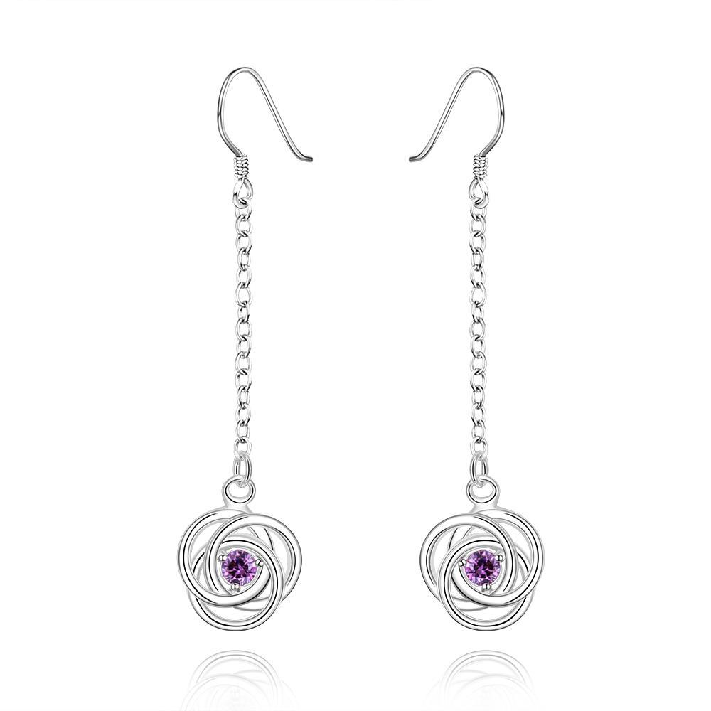 Vienna Jewelry Sterling Silver Drop Purple Citrine Circle Earring - Thumbnail 0