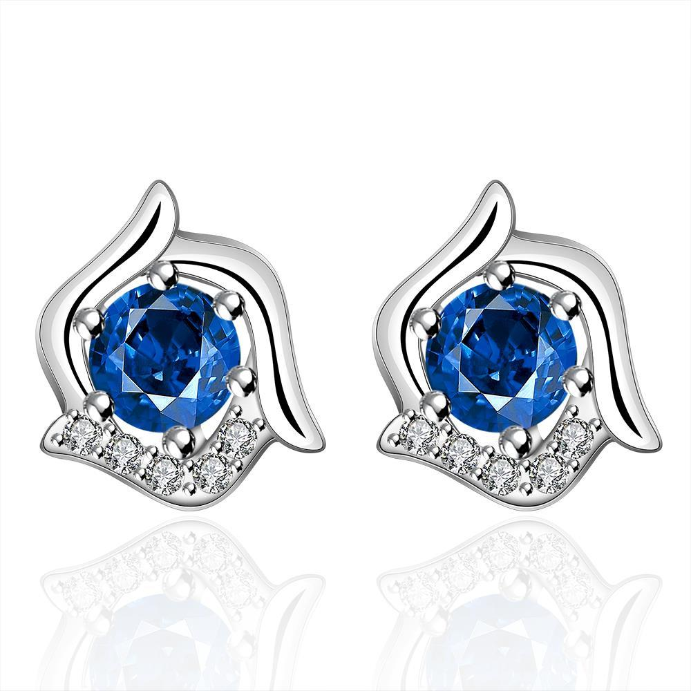 Vienna Jewelry Sterling Silver Curved Floral Sapphire Stud Earring