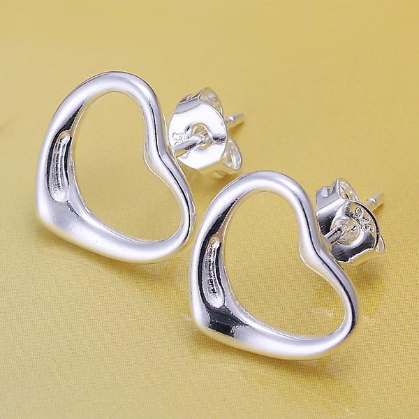 Vienna Jewelry Sterling Silver Hollow Heart Stud Earring