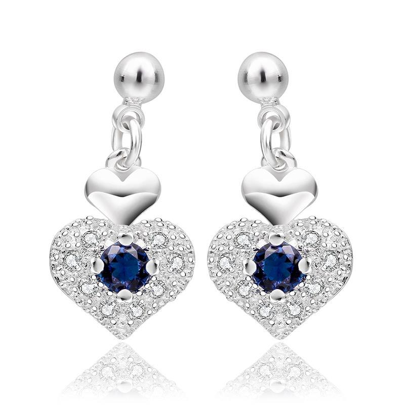 Vienna Jewelry Sterling Silver Petite Sapphire Heart Shaped Drop Earring - Thumbnail 0