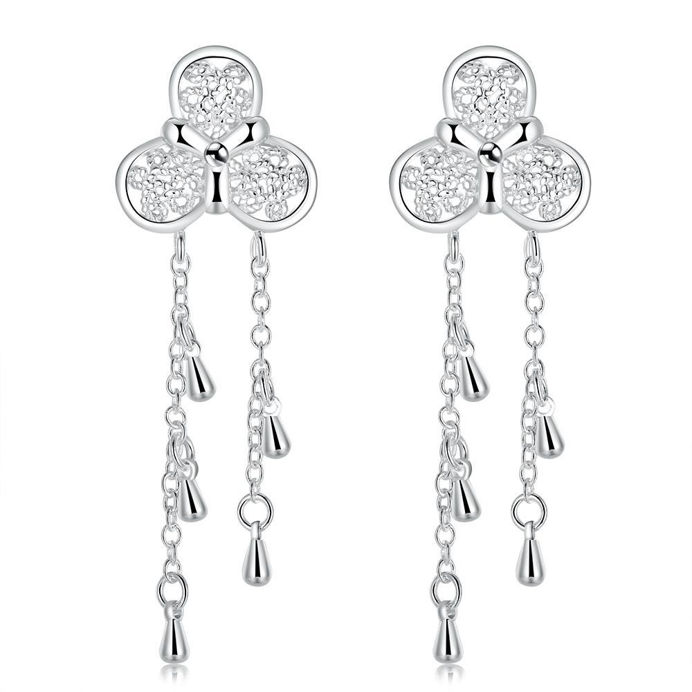Vienna Jewelry Sterling Silver Clover Pendant Drop Earring