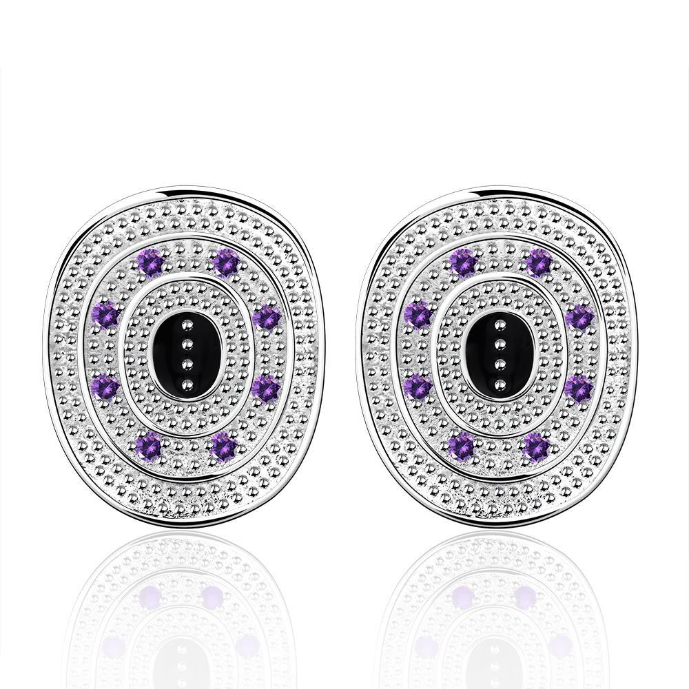 Vienna Jewelry Sterling Silver Ancient Emblem with Purple Citrine Stud Earring