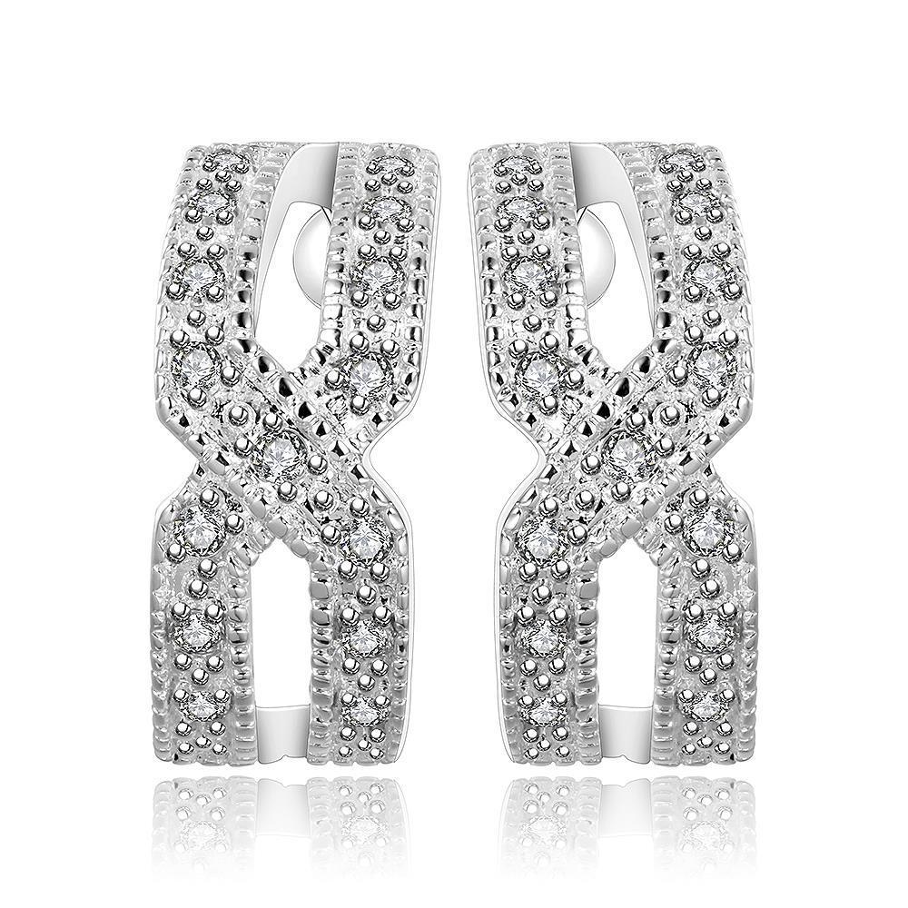 Vienna Jewelry Sterling Silver Criss Cross Stud Earring