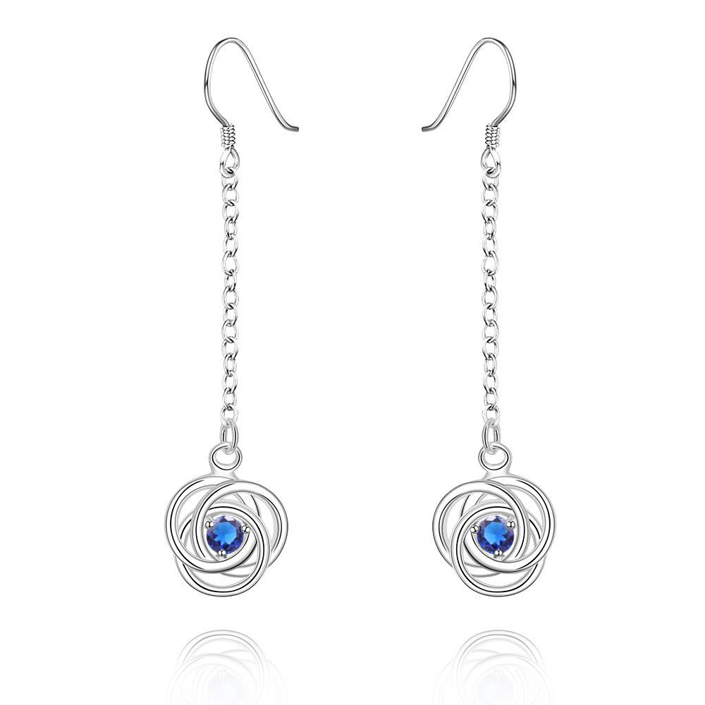 Vienna Jewelry Sterling Silver Drop Sapphire Circle Earring