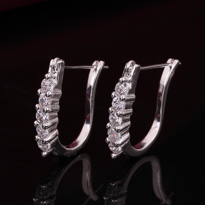 Vienna Jewelry Sterling Silver Hoop Earring with Stones Lining