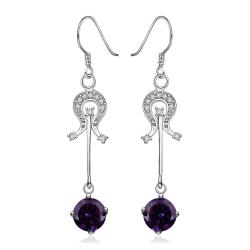 Vienna Jewelry Sterling Silver Purple Citrine Center Drop Earring - Thumbnail 0