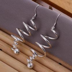Vienna Jewelry Sterling Silver Drop Spiral Earring - Thumbnail 0