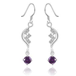 Vienna Jewelry Sterling Silver Purple Citrine Curved Stones Drop Earring - Thumbnail 0