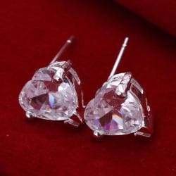 Vienna Jewelry Sterling Silver Heart Shaped Crystal Stud Earring - Thumbnail 0