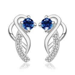Vienna Jewelry Sterling Silver Abstract Curved Pendant with Sapphire Covering Earring - Thumbnail 0