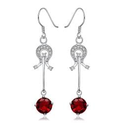 Vienna Jewelry Sterling Silver Ruby Center Drop Earring - Thumbnail 0