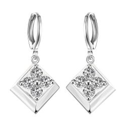 Vienna Jewelry Sterling Silver Onyx Square with Stones Drop Earring - Thumbnail 0