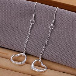 Vienna Jewelry Sterling Silver Hollow Heart Shaped Drop Earring - Thumbnail 0