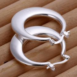 Vienna Jewelry Sterling Silver Curved Cut Hoops - Thumbnail 0