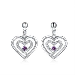Vienna Jewelry Sterling Silver Stones & Purple Citrine Heart Earring - Thumbnail 0