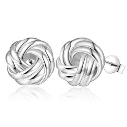 Vienna Jewelry Sterling Silver Laser Tone Mesh Love Knot Earring - Thumbnail 0