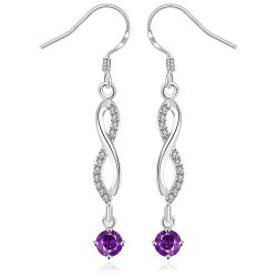 Vienna Jewelry Sterling Silver Thin Line Vertical Drop Purple Citrine Earring - Thumbnail 0