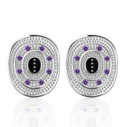 Vienna Jewelry Sterling Silver Ancient Emblem with Purple Citrine Stud Earring - Thumbnail 0