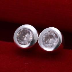 Vienna Jewelry Sterling Silver Circular Crystal Stud Earring - Thumbnail 0