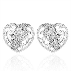 Vienna Jewelry Sterling Silver Laser Cut Stud Heart Earring - Thumbnail 0