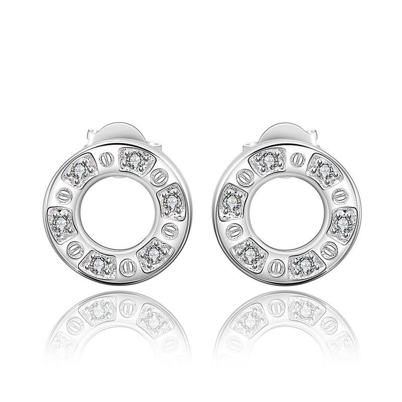 Vienna Jewelry Sterling Silver Hollow Circular Stud Earring