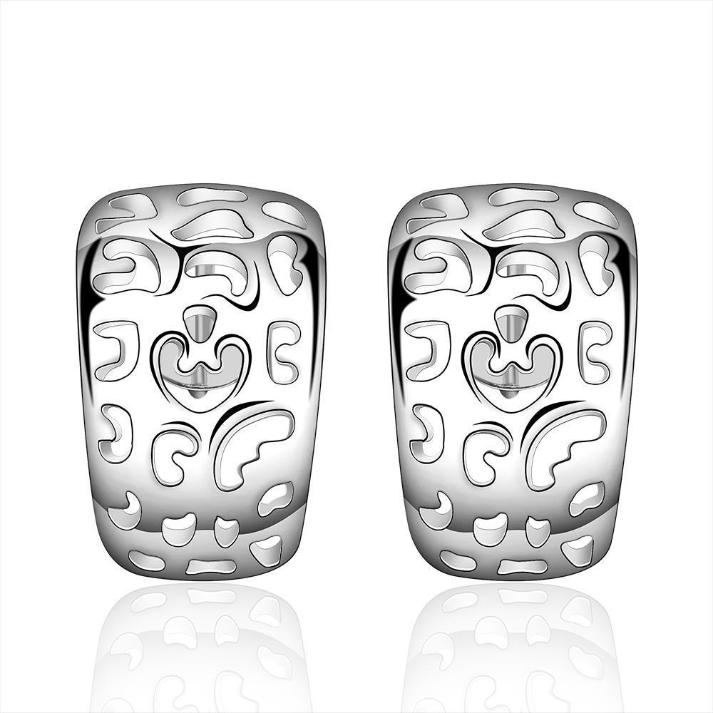 Vienna Jewelry Sterling Silver Laser Cut Design Hoop Earring