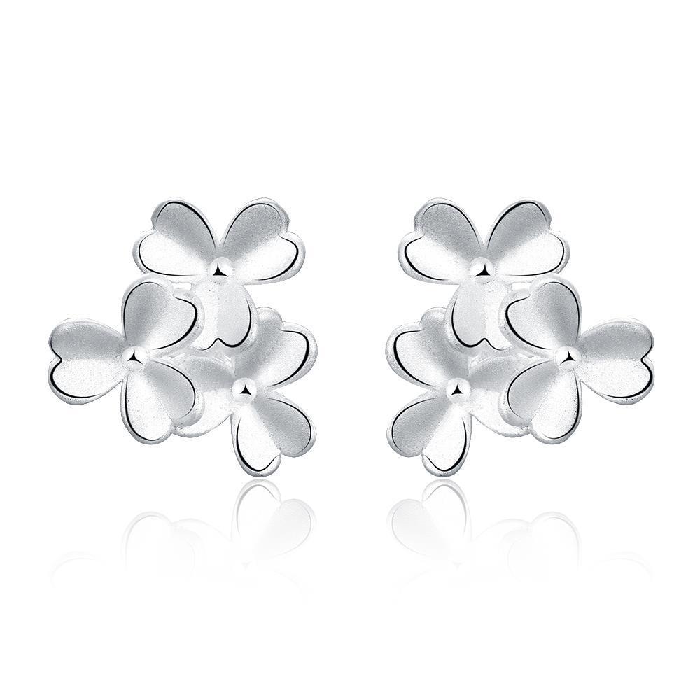 Vienna Jewelry Sterling Silver Trio-Clover Petal Stud Earring