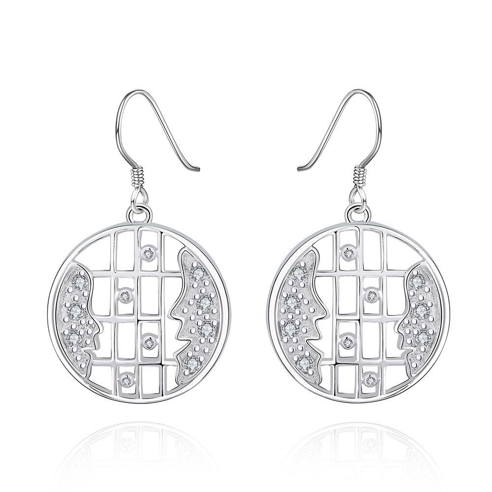 Vienna Jewelry Sterling Silver Bar Lining Stones Drop Earring