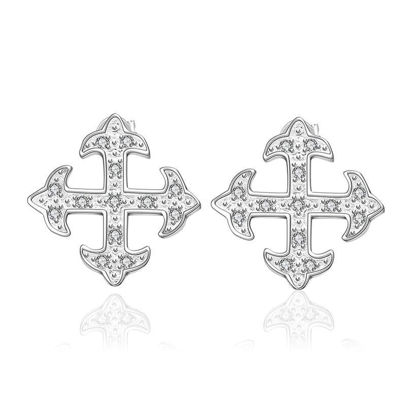 Vienna Jewelry Sterling Silver Onyx Cross Setting Stud Earring