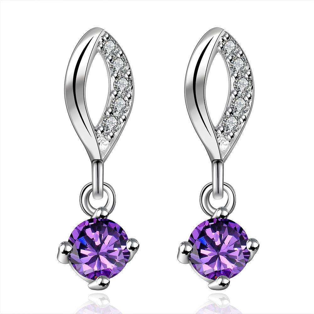 Vienna Jewelry Sterling Silver Purple Citrine Gem Stone Drop Drop Earring
