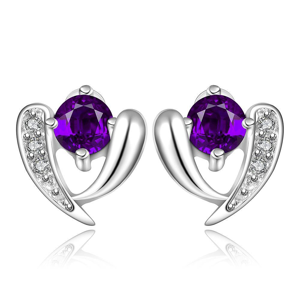 Vienna Jewelry Sterling Silver Purple Citrine Vertical Curved Stud Earring